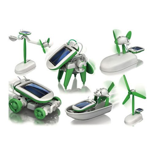 Dayday@diy 6 in 1 Solar Educational Kit Toy Boat Fan Car Robot Power Moving Dog