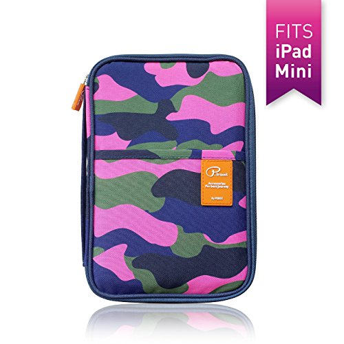 Premium Travel Wallet Document Organizer and Passport / Phone & Tablet Holder - Stylish Camouflage Pattern (Plane Tickets T compare prices)