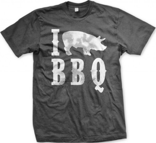 I Love BBQ Men'S T-Shirt, Funny Bar-B-Que I Pig BBQ Design Design Men'S Tee (Charcoal, Large)