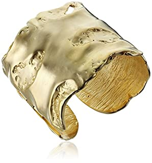 Kenneth Jay Lane Satin Gold-Plated Free Form Cuff Bracelet