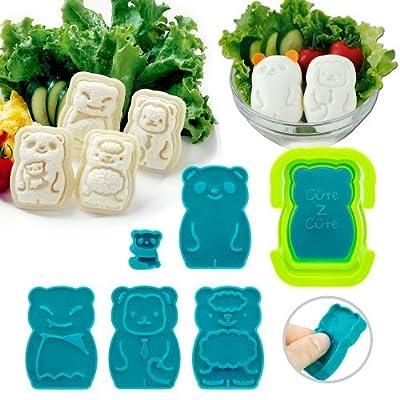 CuteZcute Animal Palz Mini Sandwich and Egg Press - Fondant Cutter, Sandwich Maker, Egg Mold, great for picky eaters, bento school lunch