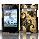TRENDE - LG Optimus Dynamic l38c / Logic L35g Case Henna/Kaju Design Hard Rubberized Cover + Free TRENDE Gift Box (Models: LGL38G