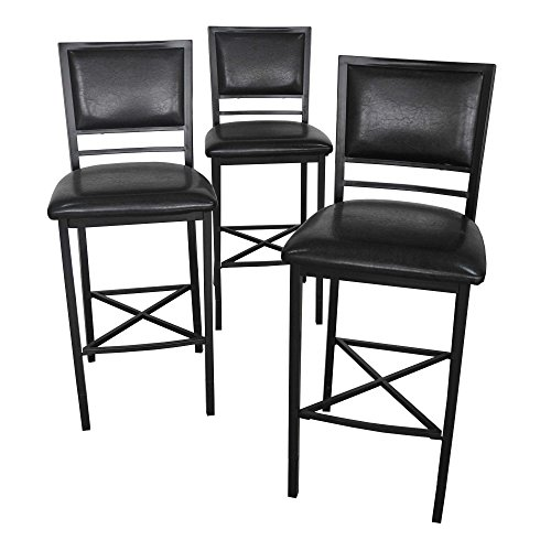 Barstool Set Stylish Contemporary Adjustable Height Metal Barstools in Black (Set of 3) Fit Both 36