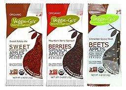 Veggie-Go\'s Organic Gluten Free Chewy Fruit & Veggie Snacks 3 Flavor 12 Snack Variety Bundle: (4) Veggie-Go\'s Mountain Berry Spinach, (4) Veggie-Go\'s Sweet Potato Pie, and (4) Veggie-Go\'s Cinnamon Spiced Beet, .42 Oz. Ea. (12 Snacks Total)