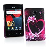 Kit Me Out UK Hard Clip-on Case + Screen Protector with MicroFibre Cleaning Cloth for LG Optimus L3 2 E430 - Black / Pink Love Heart