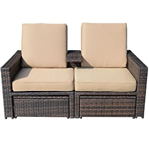 Outsunny Outdoor 3-Piece PE Rattan Wicker Patio Love Seat Lounge Chair Set by Aosom Direct - Lawn & Garden