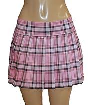 Plus Size Schoolgirl Tartan Plaid Pleated Mini Skirt Pink Stretch 3X