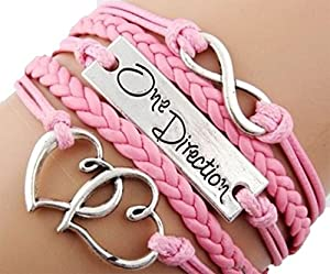 Weekend Vintage Bronze Infinity 8 One Direction Double Heart Pink Rope Leather Bracelet Karma