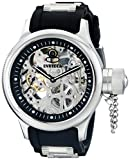 Invicta Men's Russian Diver Skelton Merchanical Analogue Watch 1088 with Black Case, Black Rubber Strap and SS Bullets