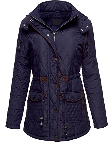Winter Slim Fit Quilted Fur Lined Hoodie Padding Jackets (YFOB),081-Navy,US M Quilted Thermal Vest
