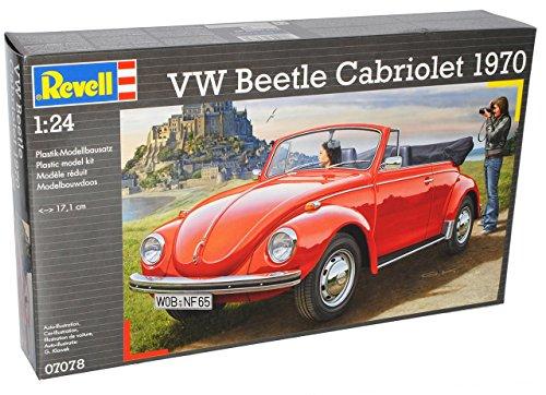 VW-Volkswagen-Kfer-Cabrio-1970-Rot-Offen-07078-Bausatz-Kit-124-Revell-Modell-Auto-mit-individiuellem-Wunschkennzeichen
