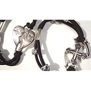 Hip Bracelets Set of 2 with Silver Pendants with Broken Heart & Cross
