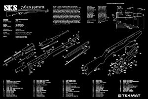 """Ultimate Arms Gear SKS 7.62x39mm Rifle Gunsmith & Armorer's Large Exploded Poster 24 """" x 36 """" Cleaning Work Tool Bench Gun Wall Decoration Hang Up Print Picture Photo Military Weapon Schematics Diagram for Assembly and Disassembly from Ultimate Arms Gear"""