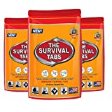 Survival Tabs - 1-Day Food Supply - Emergency Survival Food MRE for Outdoor Activities Camping Biking Climbing Also for Disaster Preparedness such as Earthquake Flood Hurricane Tornado Gluten-Free, Non-GMO The Survival Tabs 25 Years Shelf Life (3 pouches x 4 tablets = 12 Tablets/Butterscotch)