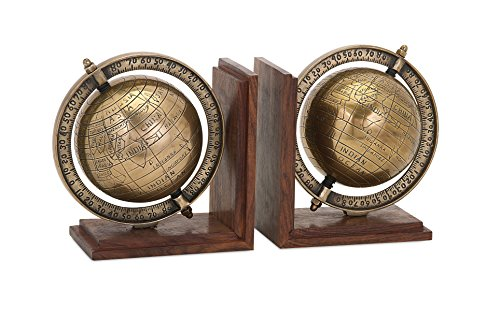 IMAX 81418-2 Beth Kushnick Globe Bookends (Set of 2), 5 x 7.5 x 7.5