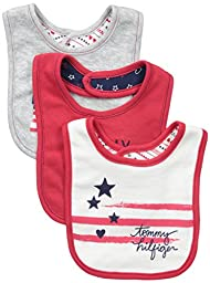 Tommy Hilfiger Baby-Girls Newborn 3 Pack Bibs, Red/Navy, One Size
