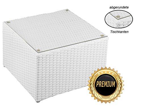 Alu- Beistelltisch inkl. Plexiglasplatte,4 x verstellbare Füße (auch als Hocker nutzbar (90 kg) ohne Plexiglasplatte)zur KombinationRattan Sonnenliege, Liege, Loungeaus hochwertigem Polyrattan, Farbe: Weiß, Material: Aluminium mit integrierten Spannbänder für eine weiche Sitzfläche.