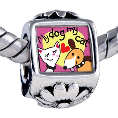 Pugster Bead Dog Loves Cat Photo Beads Fits Pandora Bracelet