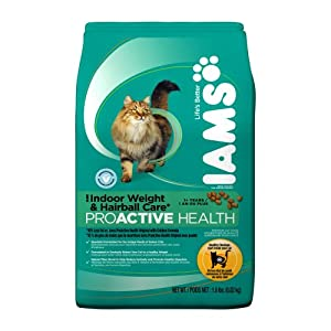 IAMS Indoor Weight Control Hairball Care Proactive Health Dry Cat Food, 1.8-Pound Bags (Pack of 8)