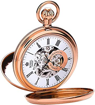 Royal London Pocket Watch 90048-03 Rose Gold Plated Double Half Hunter