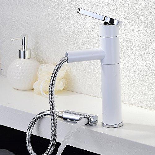homelody mit herausziehbarer brause weiss wasserhahn armatur waschtischarmatur. Black Bedroom Furniture Sets. Home Design Ideas