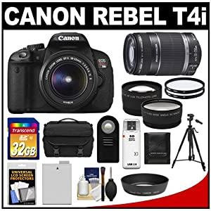 Canon EOS Rebel T4i Digital SLR Camera Body & EF-S 18-55mm IS II Lens with 55-250mm IS Lens + 32GB Card + Tripod + Battery + Case + Filters + Remote + Telephoto & Wide-Angle Lenses + Accessory Kit