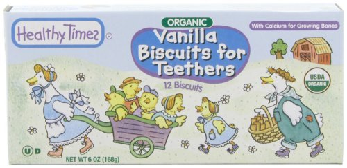 Healthy Times Organic Biscuits for Teethers, Vanilla, 6-Ounce Boxes (Pack of 12) Kids, Infant, Child, Baby Products