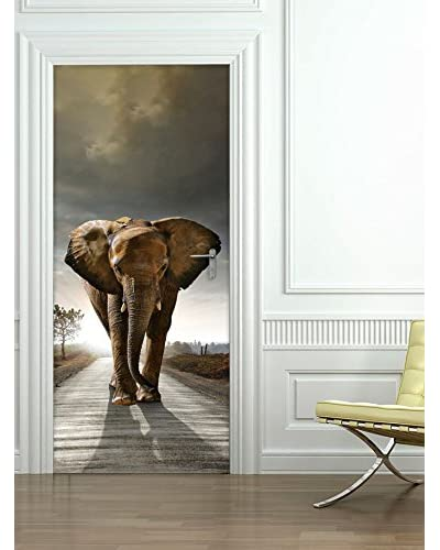 Ambiance Live Vinilo Decorativo Door 204x83 cm - Elephant Multicolor