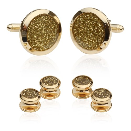 Cuff-Daddy Gold Diamond Dust Tuxedo Cufflinks and Studs (Custom Pin Buttons compare prices)