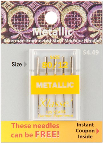 Tacony Corporation Klasse Metallic Machine Needles-80/12 5/Pkg darice 2463 54 plastic metallic christmas bulbs 1 12 pkg multicolor