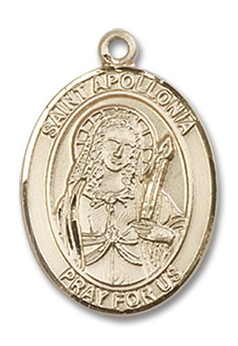 "Gold Filled St. Saint Apollonia Pendant 3/4 X 1/2"" Inches 8005Gf--Comes With 18"" Inch Gold Filled Lite Curb Chain In A Grey Velvet Gift Box Patron Saint Of Dental Diseases"