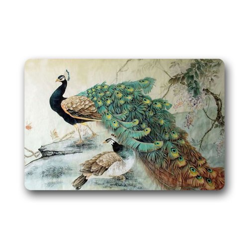 "Generic Customize New Fashion Design Decorative Funny Retro Vintage Welcome Peacock Doormat Durable Heat-Resistant Non-Woven Fabric Top Doormat Size 18""(L)x30""(W),about 46cm(L)x88cm(W),Garden & Home Outdoor Indoor Use non-slip Door Floor Entrance Floo..."