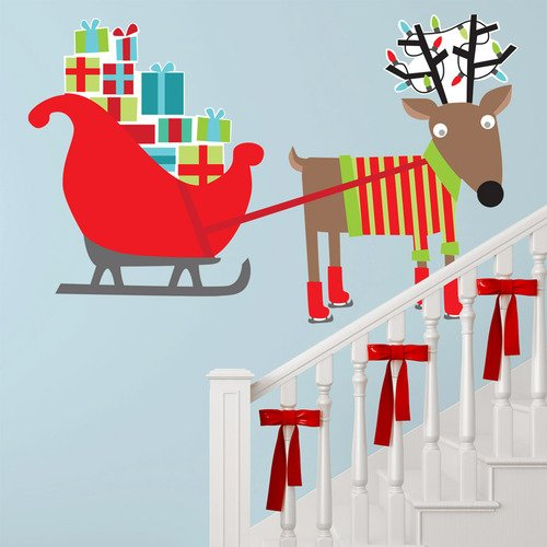 Oopsy Daisy Peel and Place Reindeer and Sleigh by Vicky Barone, 54 by 30-Inch