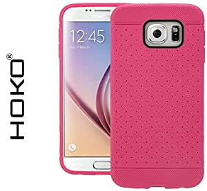 Galaxy S6 Case, HOKO® Honey bee Grip Tpu Soft Hybrid Back Case Cover For Samsung Galaxy S6 (Pink)