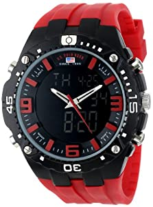 U.S. Polo Assn. Sport Men's US9173  Red Silicone Analog Digital Watch