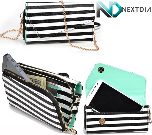 videocon-a31-womens-wristlet-clutch-case-black-and-white-stripes-with-matte-aqua-teal-with-credit-ca
