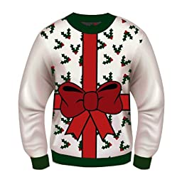 Forum Novelties Adult All Wrapped Up White Ugly Christmas Sweater, Multi, Medium