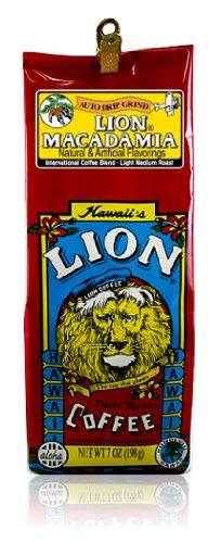 Lion Kona Coffee Macadamia Caffeinated Whole Bean- Light Medium Roast