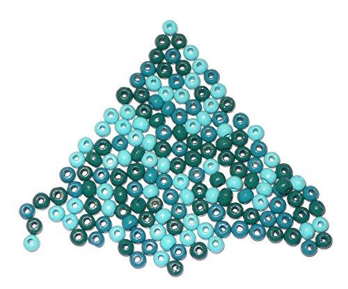 perline di legno per fai da te - colori assortiti - resistenti alla saliva - diverse misure - (1 x 1 set), Legno, Türkis-Mix, 4mm ca.155st.