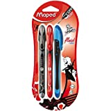 Maped Freewriter Roller Pens, Assorted Colors, Pack of 3 (228423) (Color: Red/Black/Blue)