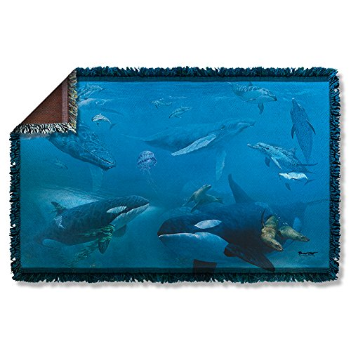 Wicked Tees WILD WINGS WHALES 2 Woven Throw