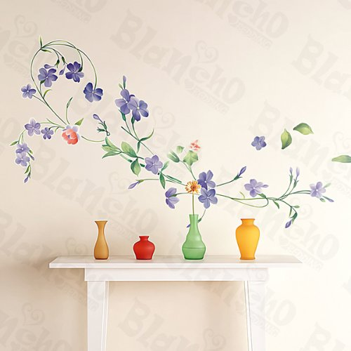 Purple Flowers - Large Wall Decals Stickers Appliques Home Decor
