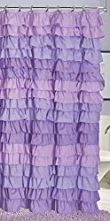 Dainty Home Venezia Ruffled Shower Curtain, 72 by 72-Inch, Purple