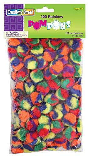 """Creativity Street Pom Pons 100-Piece X 1"""" Rainbow"""