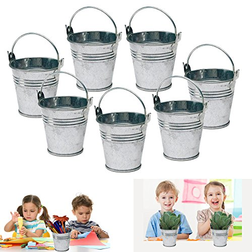 Dazzling toys 6 mini metal buckets tin party pail for Small tin containers