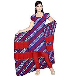 Sonal Trendz Blue & Red color Leon Printed Art silk Dress Material.