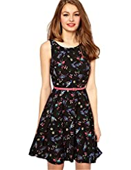 BMR Western Black Colour Printed Full Stitched Sexy Mini Dress Club Party Wear Frock Style Kurti ( Belt Not Avilabel )