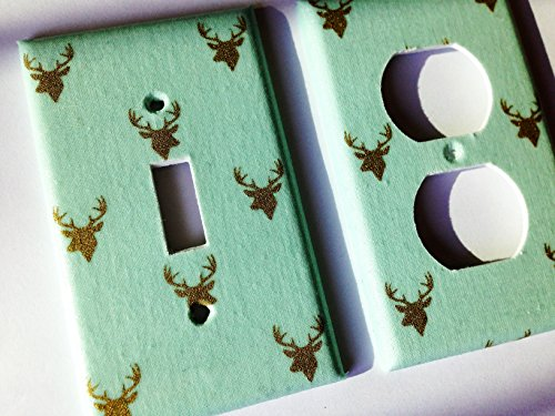 Mint Green And Metallic Gold Deer Light Switch Plate Cover - Various Sizes Light Switchplates Offered