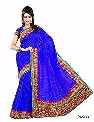 Blue Wedding Wear Saree Resham Designer Work Indian Bhaglpuri Silk Sari