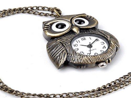 Tinxi Retro Bronze Eule Halskette Uhr Umhängeuhr Taschenuhr
